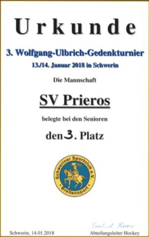 Urkunde beim Turnier in Schwerin